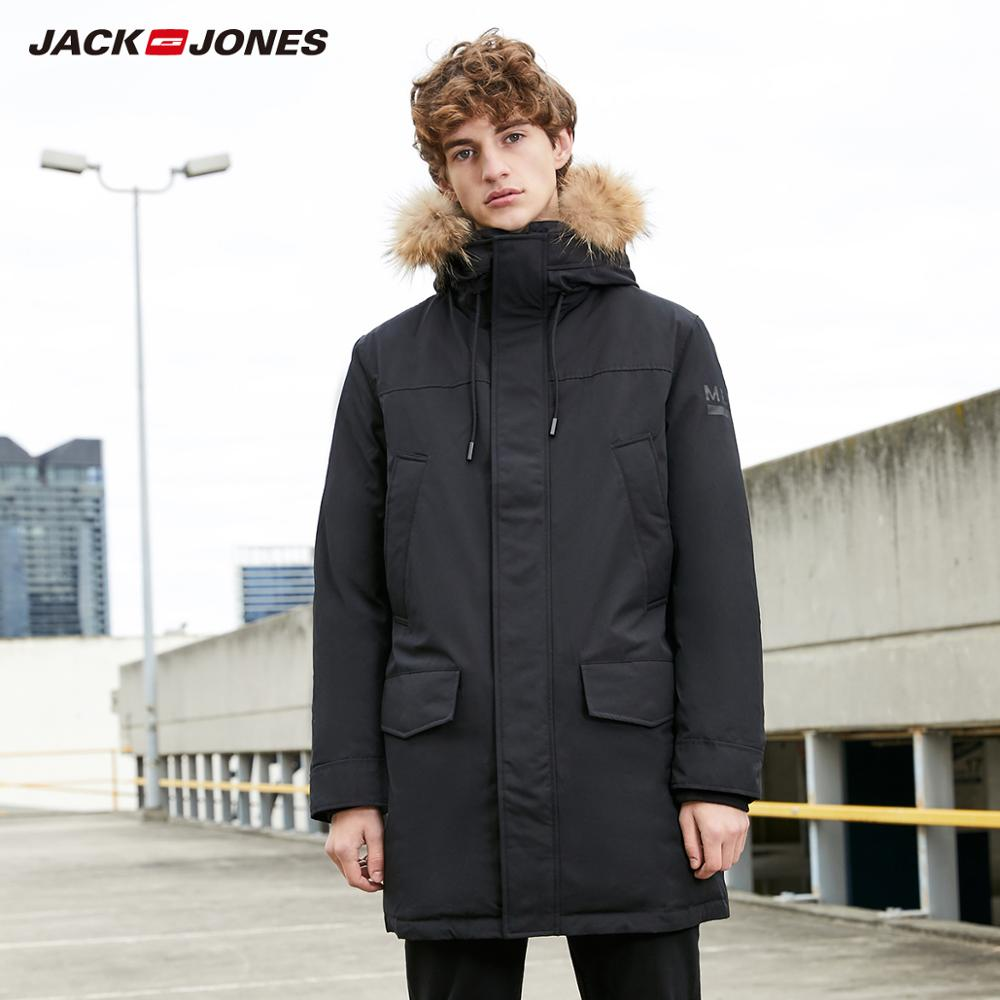 MLMR Men's Winter Fur Collar Hooded Long Down Jacket Hoodie Basic Outerwear Parka Coat JackJones Menswear Brand 218312517