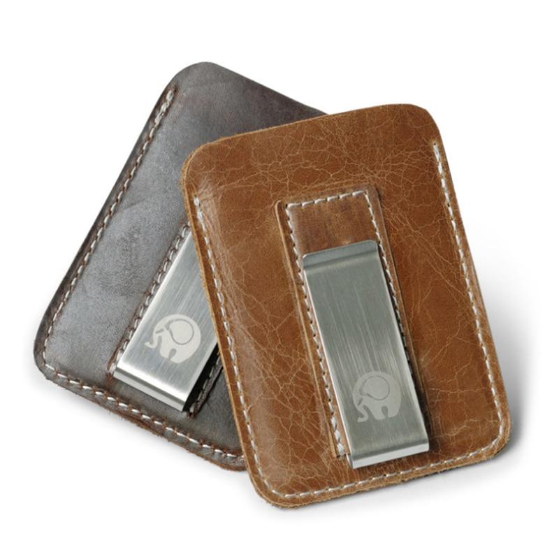 Men Money Clip Metal Short Wallets Men Mini Convenient Male Slim Clutch Genuine Cowhide Leather Money Clip Wallet 4 Colors