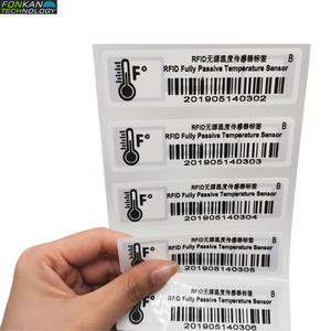 FONKAN UHF RFID Fully Passive Temperature Sensor Sticker Tag for cold-chain logistics 98x24mm
