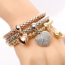 3 Pcs/Set Crystal Owl Heart Charm Bracelets & Bangles Gold/Silver Plated Elephant Anchor Pendants Rhinestone Bracelets For Women(China)