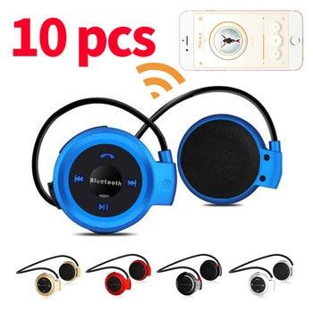 Lots 10pcs Mini Bluetooth Headphones Sport Headset MP3 Player Wireless Stereo Support TF Card FM Headband Ear-Hook Earphones