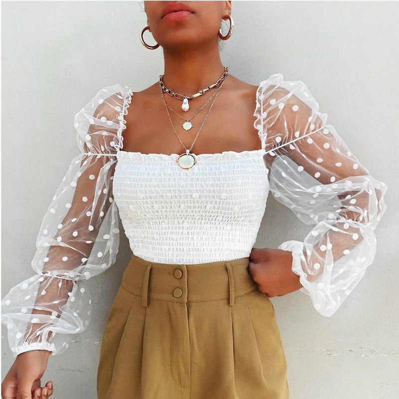 Wanita Square Leher Renda See-Through Puff Sleeve Blus High Street Liburan Polka Dot Elastis Top