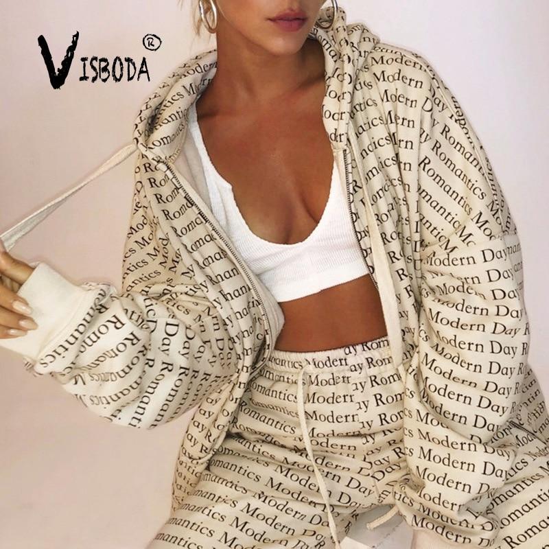 Women Tracksuits 2 Piece Set Oversized Long Hooded Sweatshirt Harem Pants Suit Fashion Casual Letter Loose Sleeve Hoodies Set