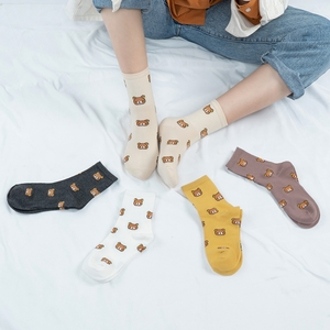 1 Pair of Cute Cartoon Women's Pure Cotton Socks Long Animal for Ladies Funny Bear Fashion Colorful Kawaii Full Harajuku Sock