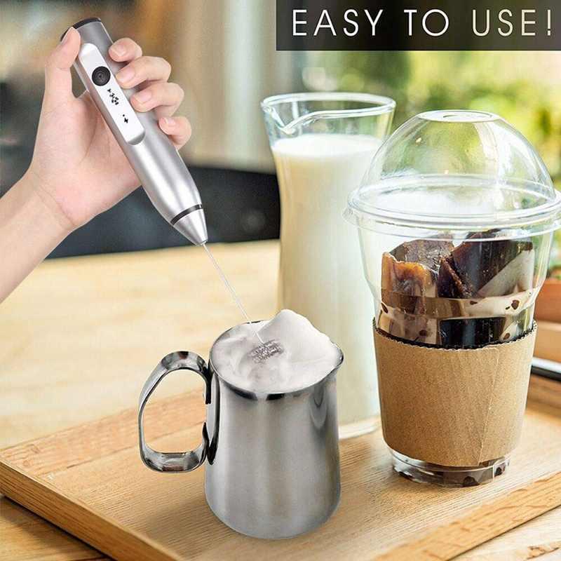 Espuma elétrica recarregável do leite com 2 whisks, fabricante handheld da espuma para o café, latte, cappuccino, chocolate quente, drin durável