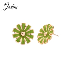 Joolim Candy Color Blue Green Red White Enamel Flower Stud Earring
