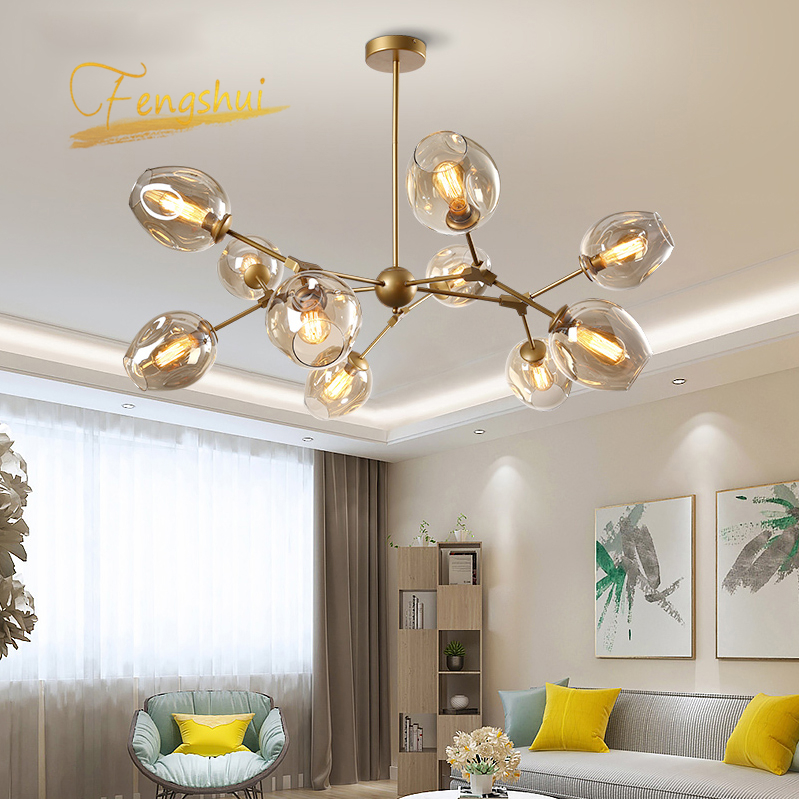 Nordic Glass Pendant Light Lighting Dinning Room Bedroom Ball Black/gold Pendant Lmap Kitchen Fixtures Hanging Lamp Luminaire