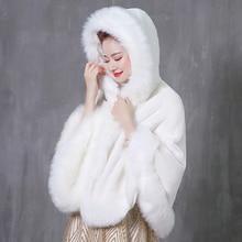 Winter Faux Fur Wedding Coat jacket With Hooded Bridal Capes Modern Bride Cloak