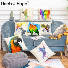 Cartoon Parrot Printed Home Decor Cushion Cover Bird Pattern Sofa Throw Pillow Cover Linen Cotton Square Decorative Pillowcase creative parrot pattern square shape pillowcase without pillow inner