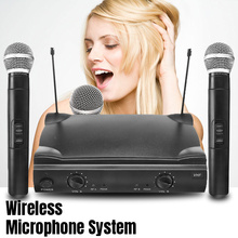 Professional Dual VHF Wireless Cordless Handheld Microphone Mic System with Receiver for Kareoke Microphone Party KTV Studio