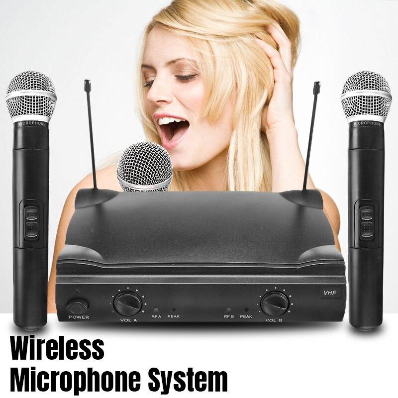Système professionnel de micro de Microphone tenu dans la main sans fil double VHF avec le récepteur pour la partie de Microphone de Kareoke KTV Studio