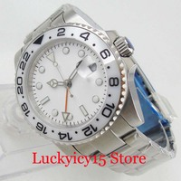 BLIGER 40mm White Sterile Dial Self Winding Men Watch GMT Function Date Window Ceramic Bezel Auto Movement SS Strap