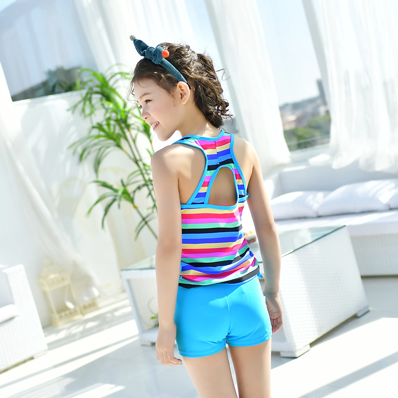 South Korea New Style Split Type Boxer Little Girl CHILDREN'S Swimwear Vest Style Simple GIRL'S Swimsuit Big Boy Bathing Suit