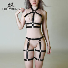 Leather Garter Erotic Harness Adjustable Straps goth For Women Sexy Body Bondage Basque girl belt Restraints Suspenders 5