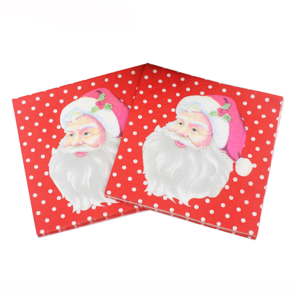 [Currently Available] Color Printed Napkin Christmas Decoration Paper Towel Kleenex Party Paper Santa Claus