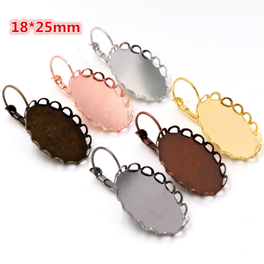 18x25mm 10pcs 7 Colors Plated French Lever Back Earrings Blank/Base,Fit 18x25mm Oval Glass Cabochons;Earring Bezels