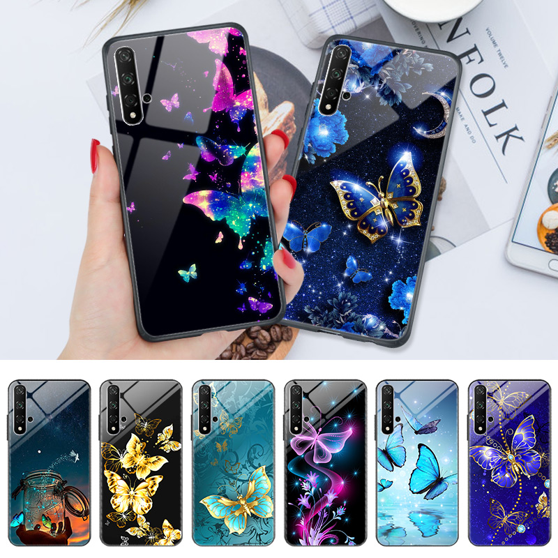 PC + TPU Phone <font><b>Case</b></font> For <font><b>Honor</b></font> 9X 20S 10 20 10i <font><b>20i</b></font> 9 Lite 20 Pro 7C 7A Pro 8C 8X 8A 8S View 20 Mate 10 Lite Butterfly Cover image