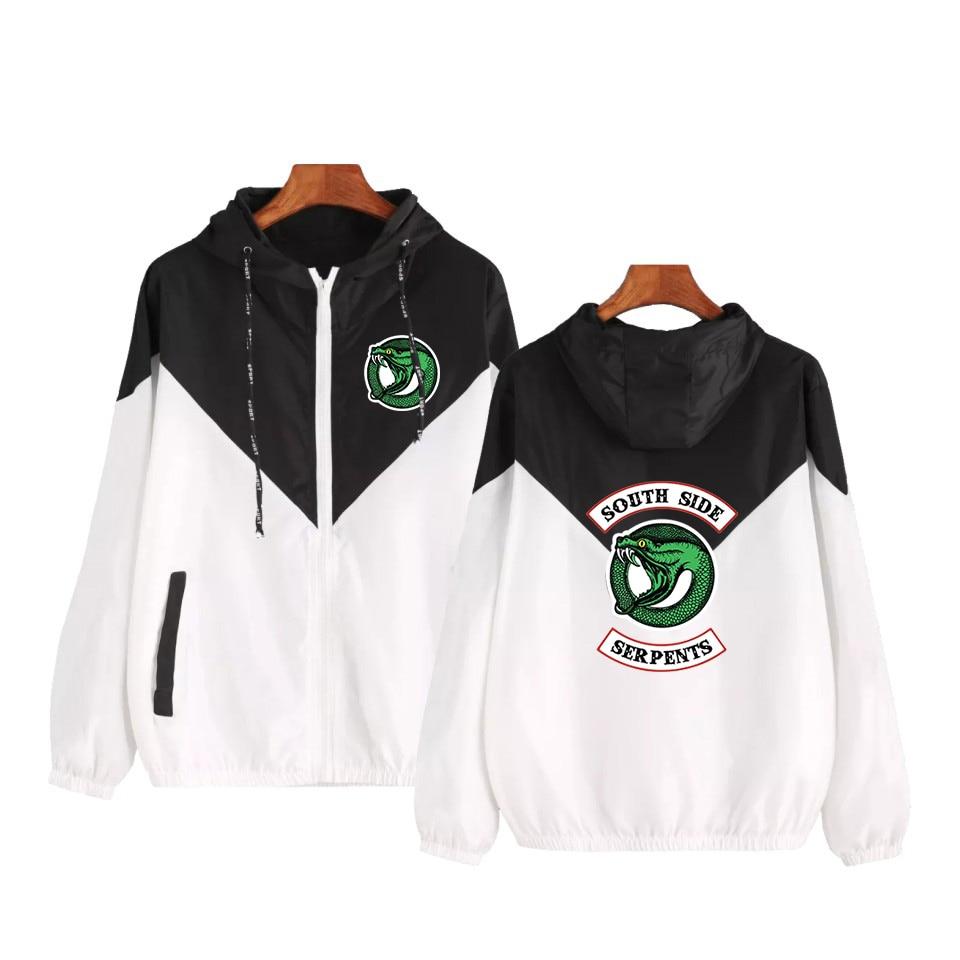 Riverdale Women Basic Jackets Female Zipper Pockets Long Sleeves South Side Serpents Hooded Jackets Color Matching Windbreaker