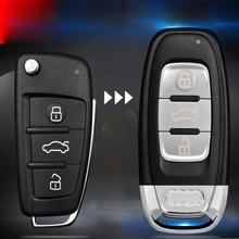 Carro atualizado substituição chave capa modificado remoto chave do escudo caso chave para audi a6 q7 a4 tt com logotipo e chave lâmina