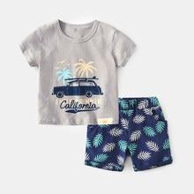 Marka pamuk bebek setleri eğlence spor erkek T-shirt + şort setleri bebek kıyafetleri erkek bebek giysileri