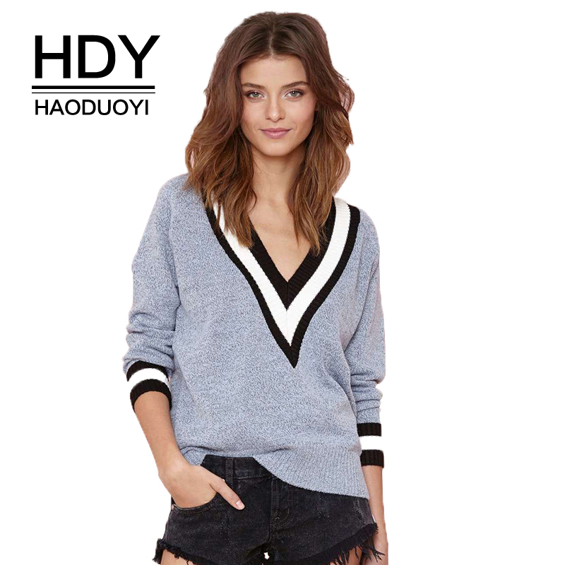 HDY Haoduoyi Autumn Fashion Loose Stripe V Neck Long Sleeve Casual Knitted Women Sweater Tops Jumper Tricot Pullovers