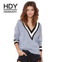 HDY Haoduoyi Autumn Winter Fashion Stripe V Neck Long Sleeve Casual Knitted Women Sweater Wine Pink Gray Black Pullovers Jumpers
