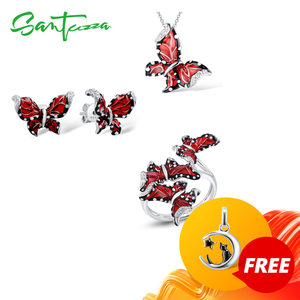 Image 1 - SANTUZZA Red Butterfly Jewelry Set For Woman White CZ Ring Earrings Pendant 925 Sterling Silver Fashion Jewelry HANDMADE Enamel