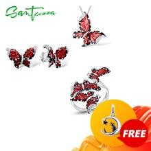 Santuzza Rode Vlinder Sieraden Set Voor Vrouw Wit Cz Ring Oorbellen Hanger 925 Sterling Zilveren Sieraden Handgemaakte Emaille