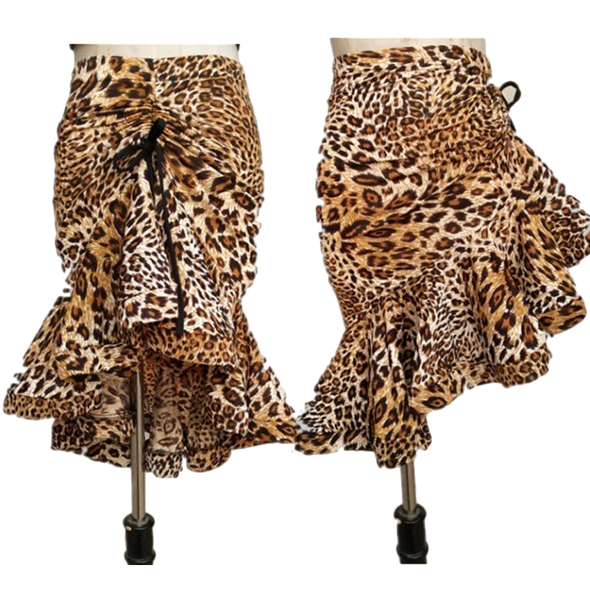 Leopard Print Women Classic Latin Dance Costumes Asymmetrical Ruffle Mermaid Skirt Lady Salsa Chacha Tango Rumba Dress