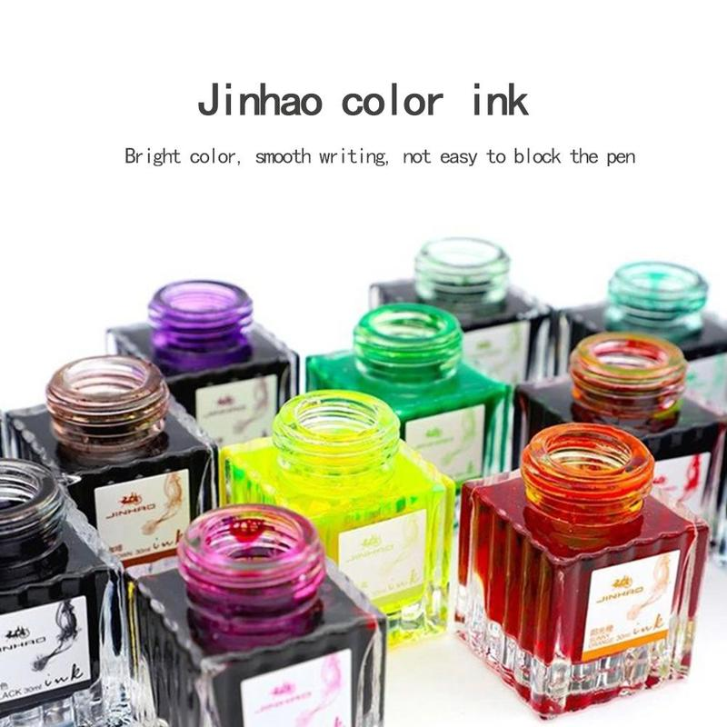 30ml Colorful Glass Bottled Ink Fountain Pen Portable Pen Ink Hight Quality Pen Ink Refill Cartridge School Office Supplies