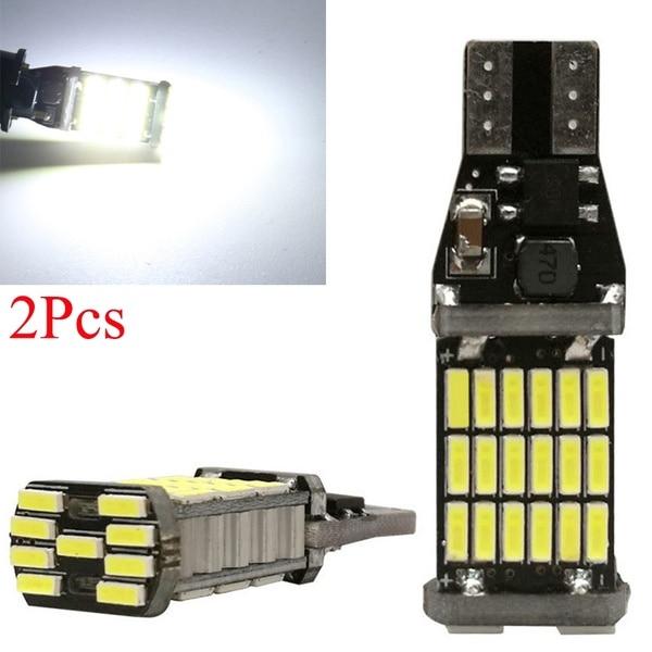 2Pcs High Power Auto Bulb   White DC 12V Car Reverse Back Light T15 W16W 45 SMD 4014  Turn Signal Lamp LED Canbus