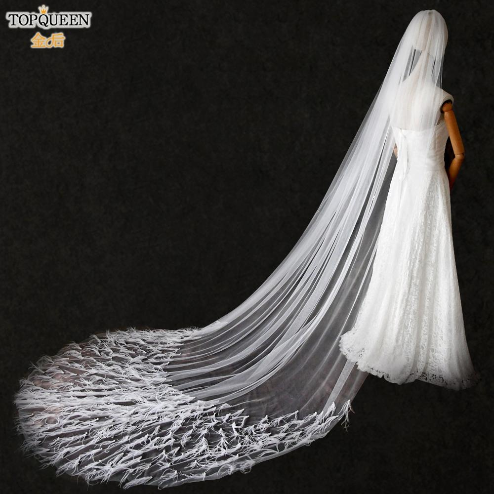 TOPQUEEN V22 Luxury Cathedral Pearl Feather Bridal Veil Designer Cut Edge Bridal Veil 3M Long White Ivory Bridal Veils with Comb