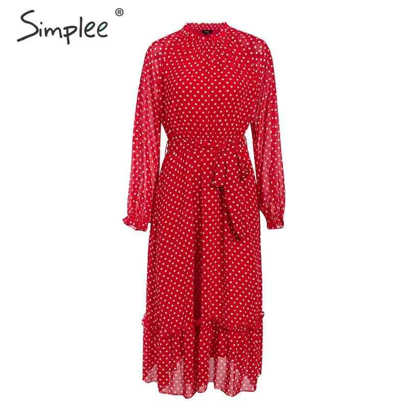Simplee осеннее женское праздничное платье элегантный в горошек с принтом женское длинное праздничное платье Праздник Стиль Дамы Плиссированное Платье Maxi dress Vestidos
