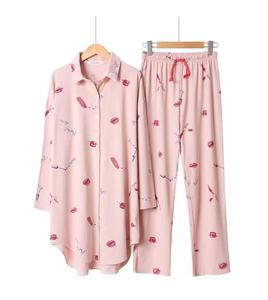 Image 3 - 2019 Spring And Summer Sleepwear Ladies Pajama Set Loose Large Size Floral Printed Long Sleeve+Pants Women 2pcs Comfort Homewear