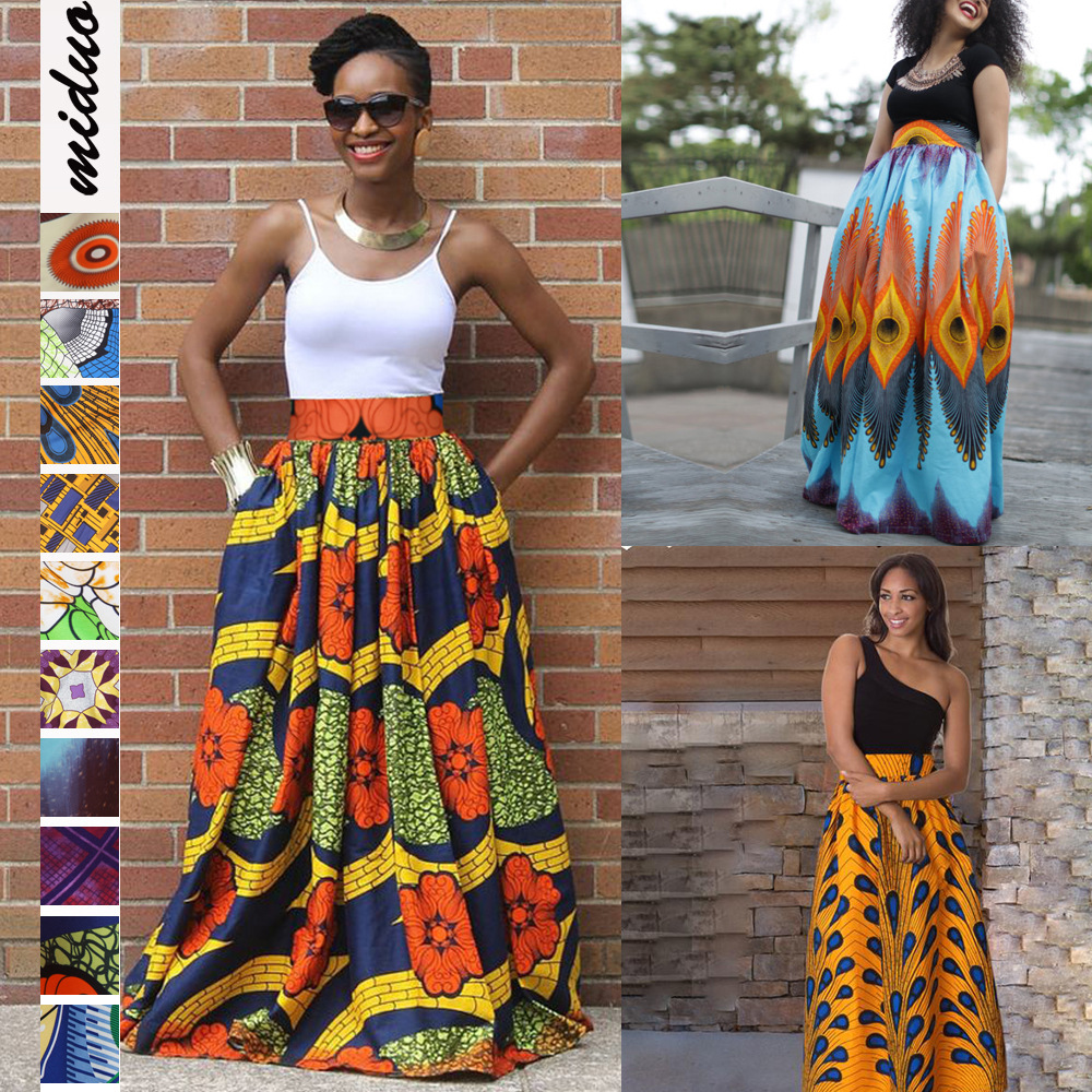 2020 Women African Dashiki Elastic Autumn Winter Summer Maxi Beach Skirt Floral Print High Waist Pleated Floor Length Long Skirt