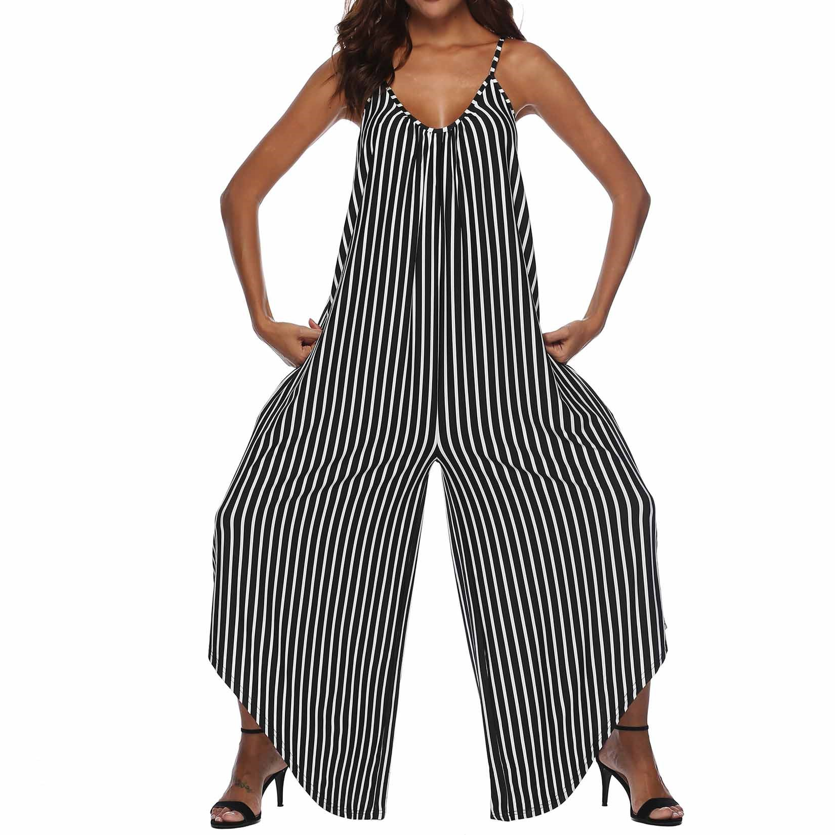 Fashion Nice Summer Women Striped Rompers Casual Spaghetti Strap Wide Leg Jumpsuit Loose Sleeveless Beach Backless Overalls