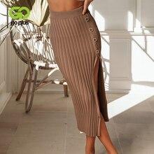 GOPLUS High Waist Knitted Skirt Women Sexy Side Split women's Skirts 2019 Autumn Midi Skirts A-Line Casual Skirt Clothes Female цена 2017