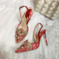 Red Gold Stylish woman shoes Luxury Chic Glitter crystal 10cm Stiletto High Heels Sexy Lace Celebrity Party Wedding Bridal Shoes