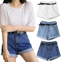 Pantalones cortos de mezclilla párr mujer de vaqueros clásicos Vintage de cintura alta con rizos... informal... P95 de verano