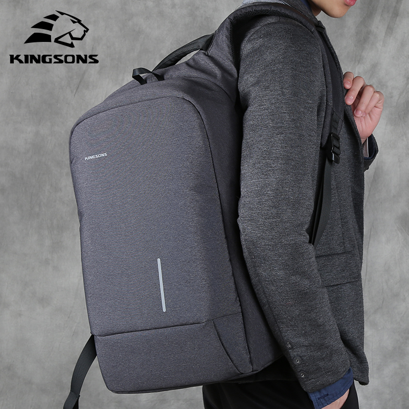 Kingsons Men Backpacks 13''15'' USB Charging Anti-theft Backpack For Laptop Men's and Women's Fashion Polyester Travel Bags