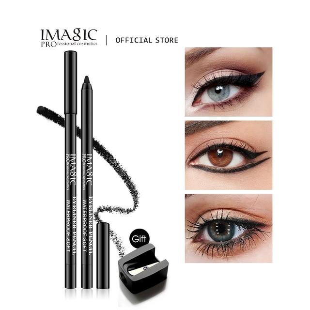 Imagic Brand 1pcs Black Waterproof Eyeliner Pen Pencil Makeup Beauty Cosmetic Tool+1pcs Pencil sharpener 1