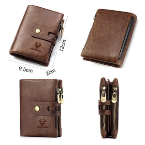 Image 3 - HUMERPAUL Genuine Leather Men Wallet Coin Purse Small Mini rfid Card Holder PORTFOLIO Portomonee Male Pocket Hot Sale