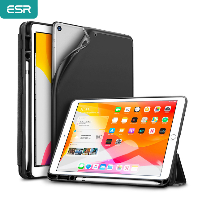 ESR Case עבור iPad 7 10.2 2019 עם עיפרון מחזיק כיסוי Ultra Slim רך TPU חזרה Trifold חכם מקרה עבור iPad 7th עם עיפרון חריץ