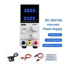 Fuente de alimentación de Banco de CC, estabilizador de interruptor ajustable de 30V y 10A, 4 pantallas LED digitales, K3010D, suministro de energía de laboratorio