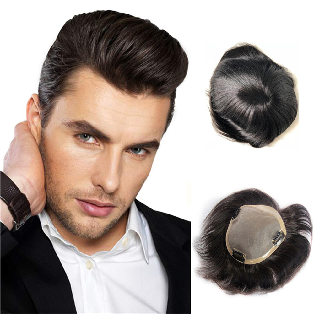 BYMC Mens Toupee Mono Toupee Human Hair Natural Hairline Lace With PU Replacement System With Clips