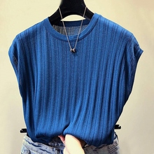 Elegant solid Pullover Knit T Shirt Women Autumn Casual O-Neck Short Sleeve Basic Tops Office Ladies  Cotton T-Shirts 5 color navy basic knit round neck t shirts