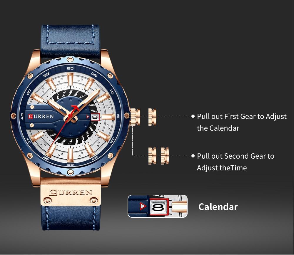H16c1d8ceb0ec44e6828bd69a4c5e4a21B CURREN Watch Wristwatch  New Chic Luminous hands