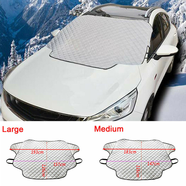 M/L Car Truck Windshield Snow Cover Magnetic Winter Ice Frost Guard Sun Shade Silver Windshield Protector Snow Cover Snow Fr