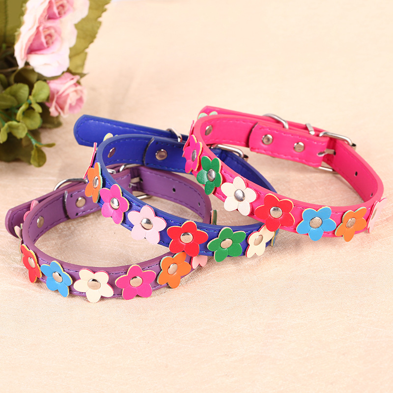 9 Flower Pu Dog Collar Adjustable Small Dogs Pet Collar