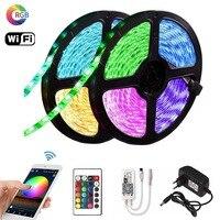 5m 10m 15m RGB LED Tira 2835 DC 12V impermeable WiFi Flexible diodo cinta Fita Tira tiras de luz led con control remoto + adaptador